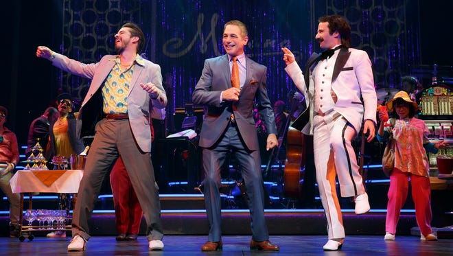 HONEYMOON IN VEGAS Matthew Saldivar, left, as 'Johnny Sandwich,' Tony Danza as 'Tommy Korman' and David Josefsberg as 'Buddy Rocky' and the ensemble in a scene from the Broadway play HONEYMOON IN VEGAS at the Nederlander Theatre.