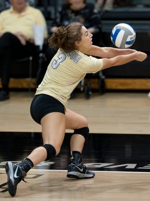 Purdue sophomore Brooke Peters with one of her five digs against Xavier.