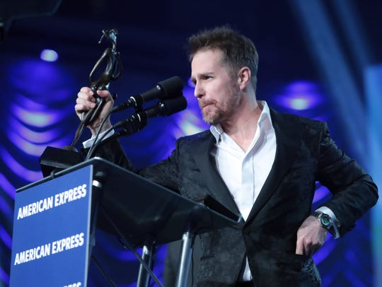 Actor Sam Rockwell receives the Spotlight Award at