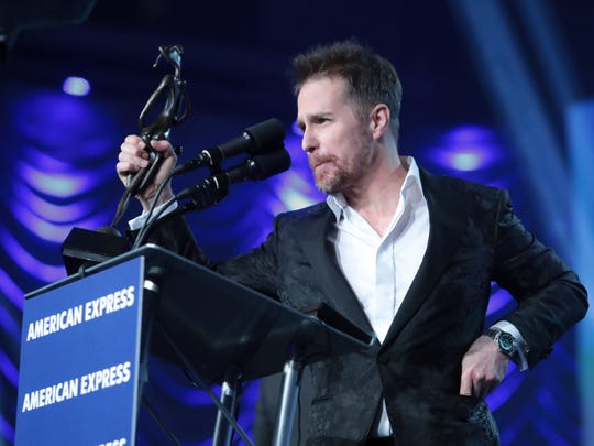 Actor Sam Rockwell receives the Spotlight Award at the 29th Annual Palm Springs International Film Festival Gala on Tuesday, January 2, 2018 in Palm Springs, CA