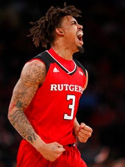 Rutgers guard Corey Sanders reacts during the first