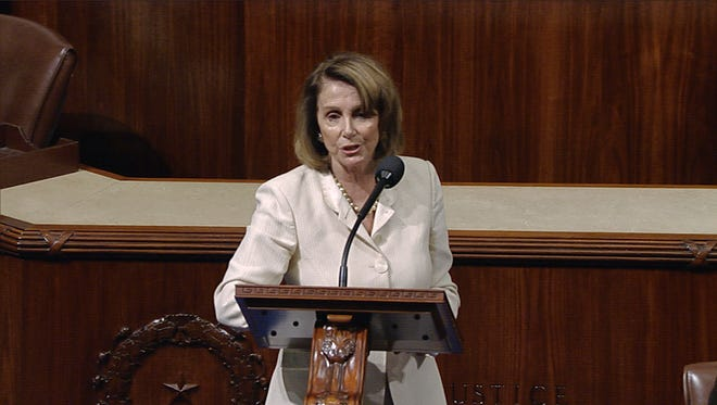 In this image from House Television video, House Minority Leader Nancy Pelosi of Calif., speaks Wednesday, June 14, 2017, on the House floor at the Capitol in Washington, as she talks about the shooting at the Republican congressional baseball practice.