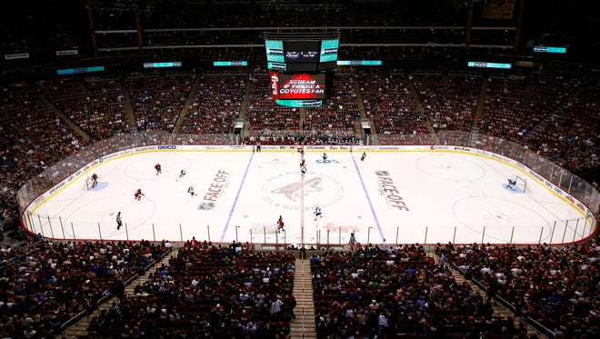 The Arizona Coyotes play against the Winnipeg Jets during the season opener on Thursday, Oct. 9, 2014 at Gila River Arena in Glendale.
