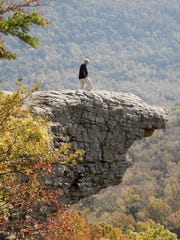 Hawksbill Crag in Newton County  is one of Arkansas'