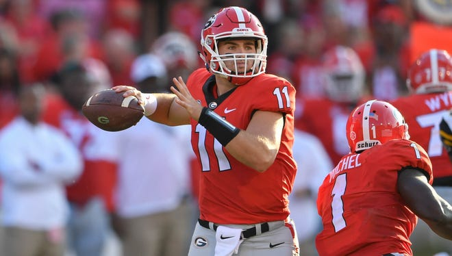 Sep 2, 2017; Athens, GA, USA; Georgia Bulldogs quarterback Jake Fromm (11) passes against the Appalachian State Mountaineers during the first quarter at Sanford Stadium. Mandatory Credit: Dale Zanine-USA TODAY Sports