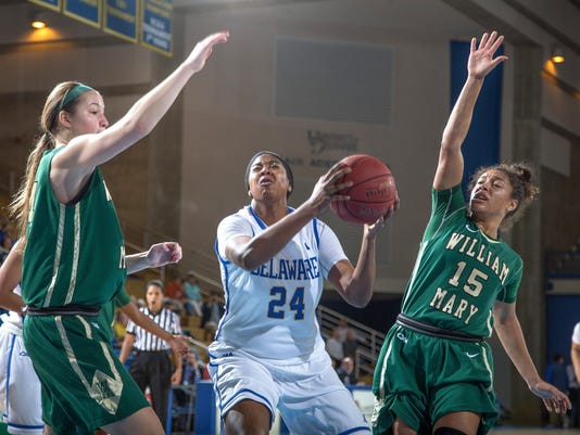 UD's Joy Caracciolo (Sr) drives past William and Mary's Jazmen Boone (Sr) a.jpg