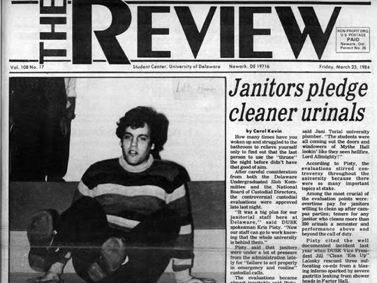 """Chris Christie on the front page of the April Fools' Day edition of the University of Delaware student newspaper The Review in March 1984. Christie is jokingly referred to as """"Kris Pisty."""""""