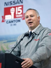 Steve Marsh, vice president, Manufacturing, Canton Vehicle Assembly Plant, speaks about the company's celebration of the production of 4 million vehicles at its Canton  assembly plant Monday. The automaker donated the celebratory van to Our Daily Bread Ministries.