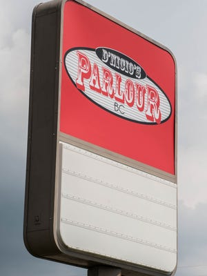 New sign at the new location of D'Nicio's Parlour in the former Mr. Don's restaurant on Columbia Avenue.