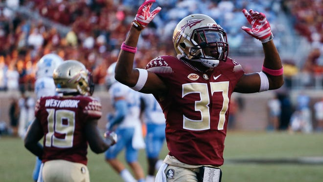 Kyle Meyers pumps up the crowd during the second half against UNC at Doak Campbell Stadium on Saturday, October 1, 2016. The Seminoles fell to the Tar Heels 37-35.