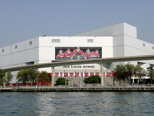 Exterior of Joe Louis Arena as seen from the Detroit
