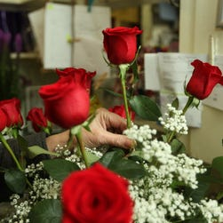 A florist at work.
