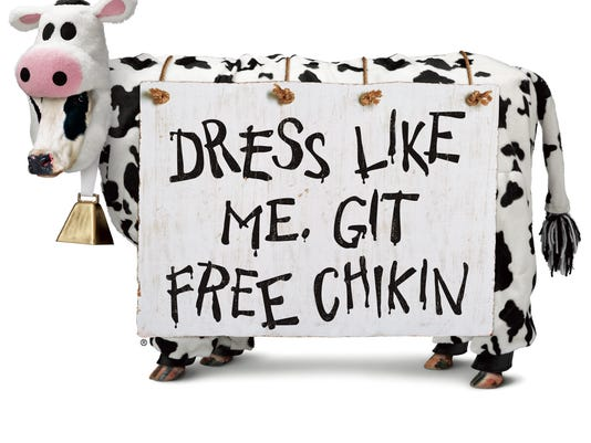 Chick-fil-A is giving free food on Friday to people who come to their restaurants dressed as cows.  Photo Submitted