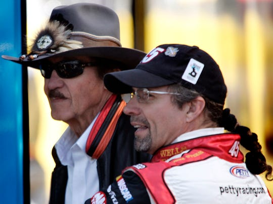"Says son Kyle Petty (right) of father Richard: ""If it wasn't for racing, he wouldn't make it to 80."""