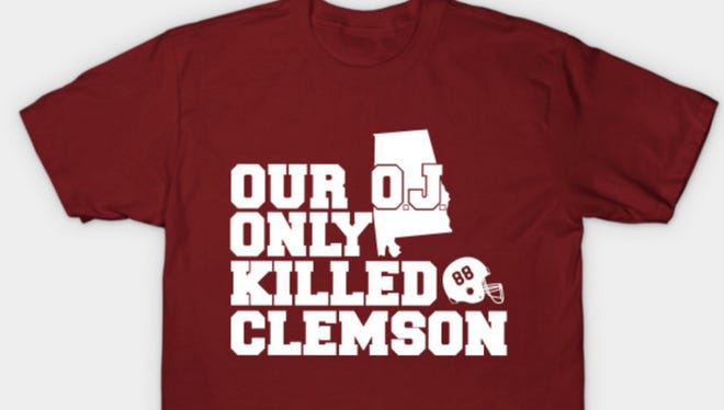 An Alabama fan site created a t-shirt that mocks Southern Cal and O.J. Simpson, a Heisman Trophy winner at USC who was found not guilty for the crime of murdering his estranged wife and her friend.