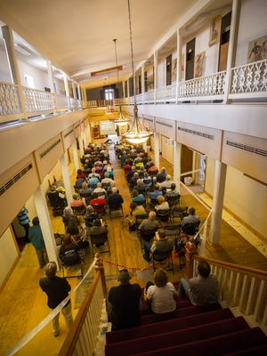 Almost 100 people packed into the Amador Hotel on Friday, April 15, 2016, to listen to a lecture by retired curator of NMSU's University Museum, Dr. Terry Reynolds, on the history of the Amador family,