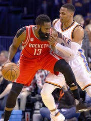 James Harden (13) against Russell Westbrook (0)