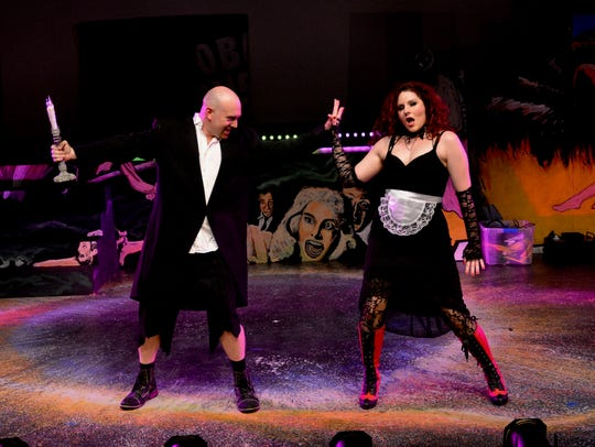 "The very otherworldly brother and sister, Riff Raff (Rob Kirkland) and Magenta (Erin Murphy Sherry), perform in the musical ""The Rocky Horror Show,""which opened Oct 13 at Backdoor Theatre. The theater recently announced its 2018 season, which includes ""Pippin"" and ""Lend Me a Tenor."""
