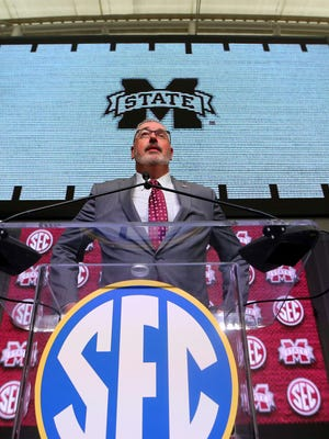 Mississippi State NCAA college football head coach Joe Moorhead speaks during Southeastern Conference Media Days Wednesday, July 18, 2018, in Atlanta. (AP Photo/John Bazemore)
