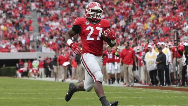 Georgia sophomore Nick Chubb has 599 rushing yards and six rushing touchdowns this season.