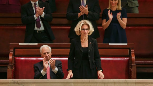 Janet DiFiore stands in the Senate gallery after being