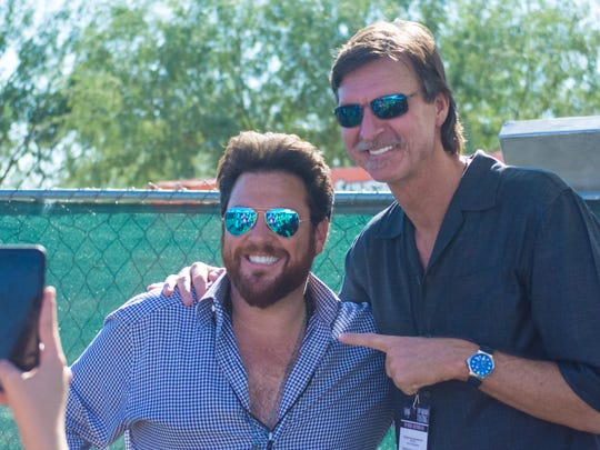 Chef Scott Conant of Chopped fame poses with former