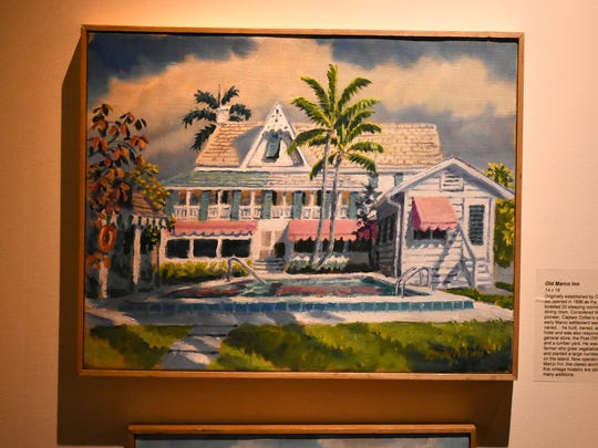 """An historic painting of the Olde Marco Inn. The Marco Island Historical Museum opened an exhibit Wednesday evening called """"Coastal Trade,"""" featuring paintings and artifacts from the collection of artist Paul Arsenault."""