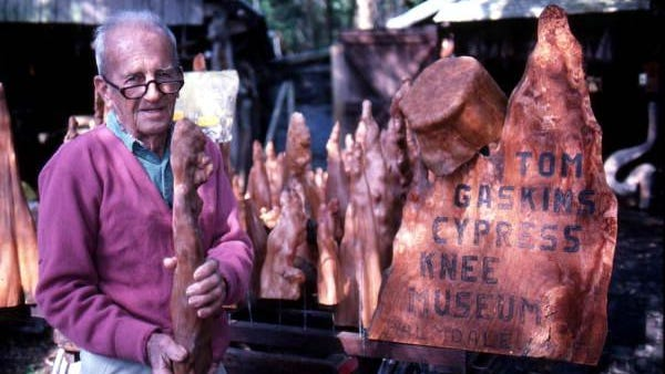 Tom Gaskins stands with some of his cypress knee creations a few years before his death in 1998.