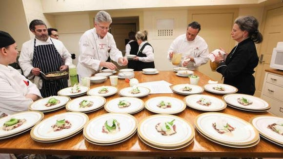Preperations at the seven-course, $1000-a-person Copelands' MidAtlantic Wine + Food Festival winemakers dinner last year.