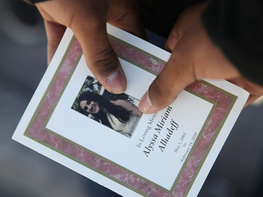 A program is seen from the funeral of Alyssa Alhadeff at the Garden of Aaron at Star of David Memorial Gardens on February 16, 2018 in Parkland, Florida.