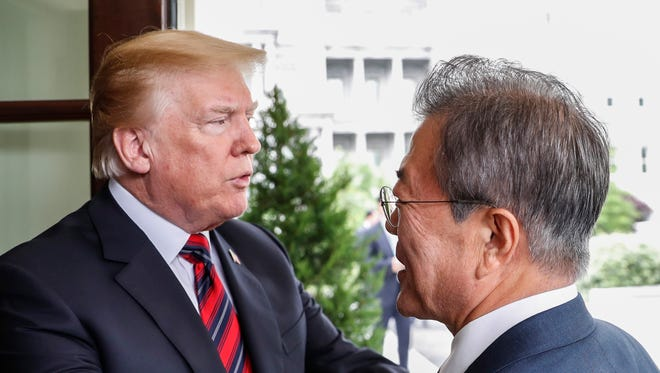President Trump sees off South Korean President Moon Jae-in at the White House in Washington, D.C.
