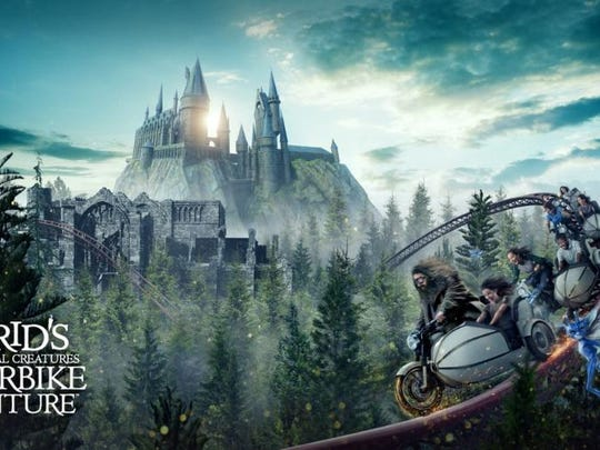 Concept art for Hagrid's Magical Creatures Motorbike Adventure.