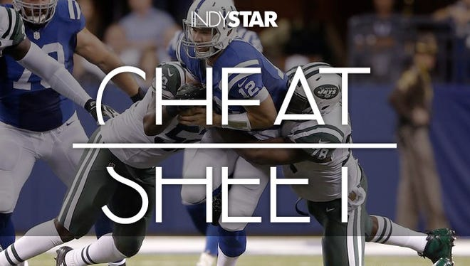 Colts quarterback Andrew Luck is sacked by New York Jets defensive end Leger Douzable (78) and linebacker David Harris (52). Luck fumbled on the first-half play during the Colts' Monday Night Football game.
