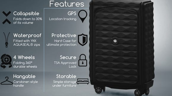 Néit is a wheeled, waterproof hard-case suitcase (made