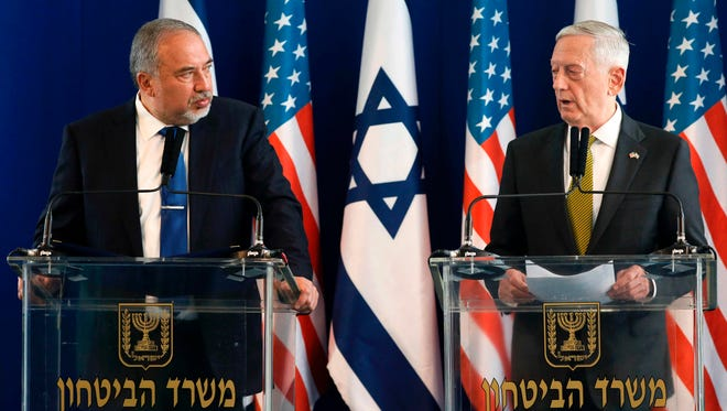 Israeli Defence Minister Avigdor Lieberman and Defence Secretary James Mattis give a joint press conference at the Ministry of Defence in Tel Aviv on April 21, 2017.