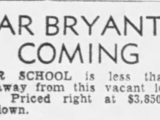 A classified ad in the Montgomery Advertiser about Bear Bryant's return to Alabama and a piece of land for sale.