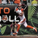Bengals wide receiver Marvin Jones celebrates his touchdown in the second quarter.