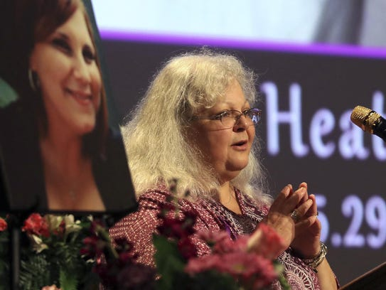 Susan Bro, mother to Heather Heyer, speaks during a