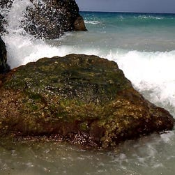 Tedd Wallace, mayor of South Lyon, Mich., nearly drowned March 1, 2015, in a riptide while boogie boarding and was pulled near the other side of these rocks while in the U.S Virgin Islands.