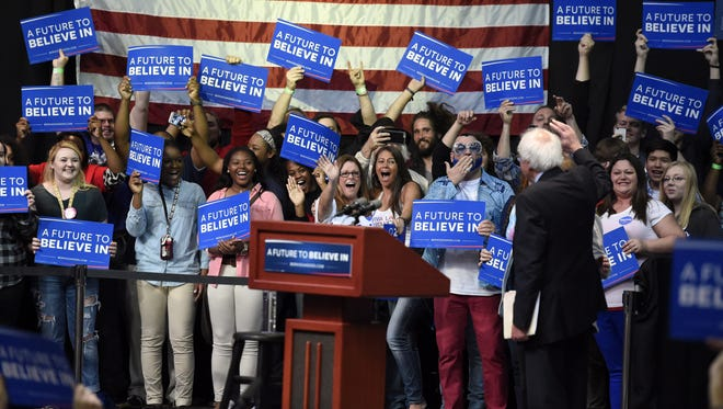 Bernie Sanders waves to supporters at a rally in Evansville, Ind. May 2, 2016.