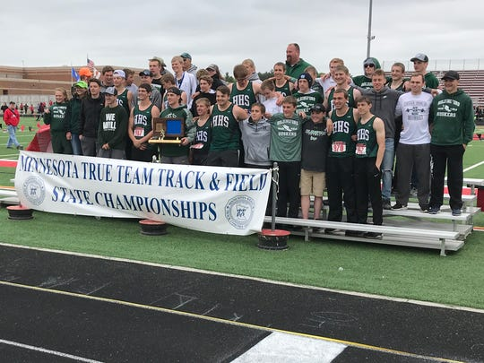 The Holdingford boys track and field team poses with
