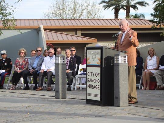 Rancho Mirage Mayor Dana Hobart speaks at a dedication ceremony for the city's community park on Sunday, Feb. 14, 2016.