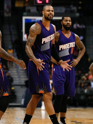 Oct 16, 2015: Phoenix Suns center Tyson Chandler (4) reacts after receiving a technical foul in the third quarter against the Denver Nuggets at the Pepsi Center. The Nuggets won 106-81.