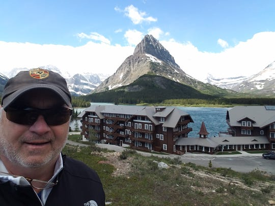 Ben Williams snaps a selfie at Many Glacier Hotel in