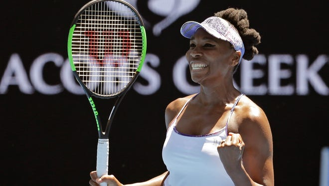 United States' Venus Williams celebrates after defeating Russia's Anastasia Pavlyuchenkova during their quarterfinal at the Australian Open tennis championships.