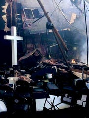 A photo that the Bossier City Fire Department took of the cross inside the Faith Chapel at First Bossier.