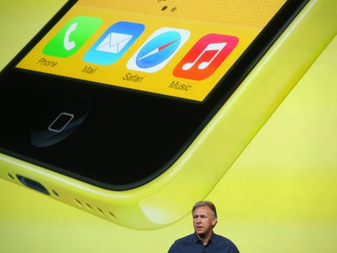 CUPERTINO, CA - SEPTEMBER 10:  Apple Senior Vice President of Worldwide Marketing at Phil Schiller speaks about the new iPhone 5C during an Apple product announcement at the Apple campus on September 10, 2013 in Cupertino, California. The company lau