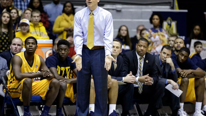 Murray State coach Steve Prohm watches the second half of his team's NCAA college basketball game against Belmont in the final of the Ohio Valley Conference tournament Saturday, March 7, 2015, in Nashville, Tenn. Belmont won 88-87. (AP Photo/Mark Humphrey)