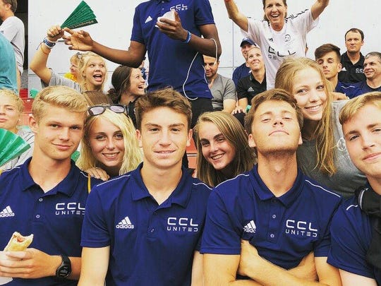 Wilson Memorial rising junior Kendall Piller, second from left poses with teammates prior to the opening ceremonies for the Gothia Cup youth soccer tournament on Monday, July 16, 2018, in Gothenburg, Sweden.
