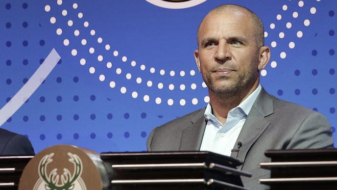 Milwaukee Bucks head coach Jason Kidd listens as the results of the NBA basketball draft lottery are announced Tuesday, May 17, 2016, in New York.